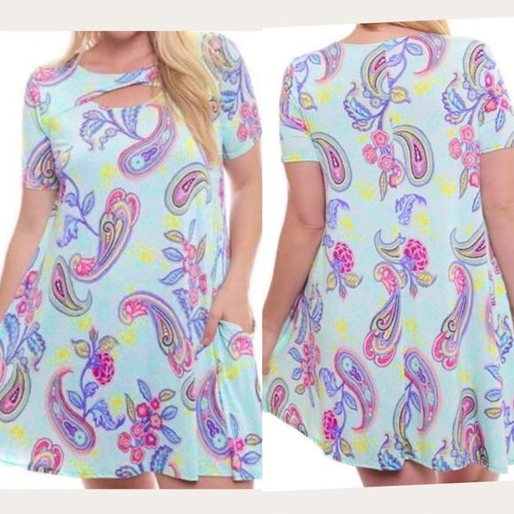 98d71a435b5 Plus Size Paisley Print Tunic Top Dress 1X 1XL 14